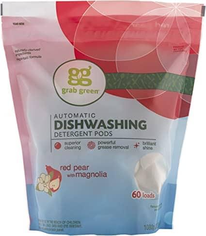 Grab Green Natural Dishwasher Detergent Pods, 60 Count