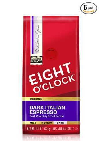 Eight O'Clock Coffee Dark Italian Espresso, Ground Coffee, 11.5 Ounce