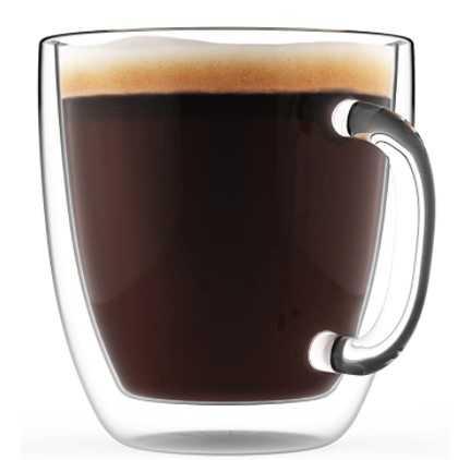 ELIXIR GLASSWARE Large Coffee Mug, Double Wall Glass 16 oz