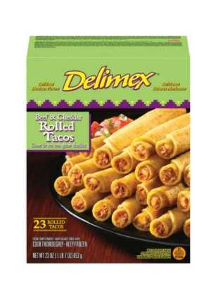Delimex Beef & Cheddar Corn Rolled Tacos Frozen Snacks