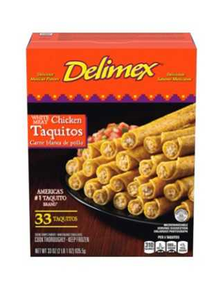 Delimex White Meat Chicken Corn Taquitos Frozen Snacks